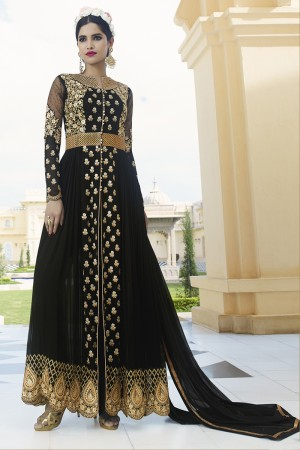 Black Royal Georgette Heavy Embroiderd Zari Work on Nack and sleeve with Butti Work and Heavy Lace Border Semi stitch Salwar Kameez