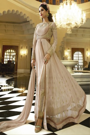 Cream Royal Georgette Heavy Embroiderd Zari Work on Nack and sleeve with Butti Work and Heavy Lace Border Semi stitch Salwar Kameez