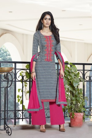 Grey Pure Cotton Embroidery neckline,EMB lace border work with lace border Dupatta   Dress material