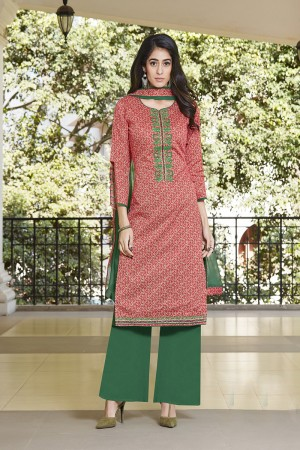 Multi Color  Pure Cotton Embroidery neckline,EMB lace border work with lace border Dupatta   Dress material