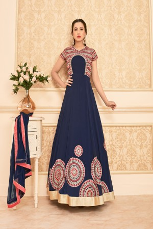 Gauhar Khan Blue Georgette Heavy Embroidered Theread work on nack with lace border Anarkali Suit