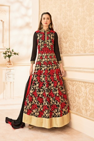 Gauhar Khan Black Georgette Heavy Embroidered thread and zari work with lace border Anarkali Suit