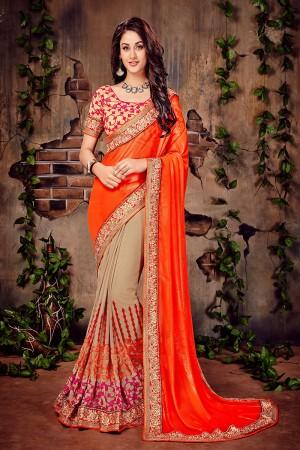 Orange & Beige Georgette Zari and Thread Embroidered Chain Stitch Work with Multi Embroidered Lace Border Saree