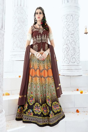 Multi Colour Pure Satin Digital Print Pure Satin with Fuzing and Inner with Can Can Lehenga Choli