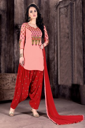 Peach Cotton Heavy Embroidery on neckline and sleeve with butti work on bottom   Dress material