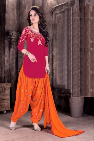 Rani Cotton Heavy Embroidery on neckline and sleeve with butti work on bottom   Dress material