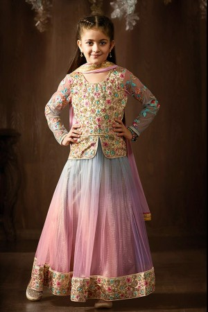 Stylish Net& Brocket Pink & Grey heavy Embroidery Salwar Kameez
