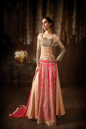 Orange Georgette & Raw Silk Embroidered, Stone & Lace Work Semi-Stitched Salwar Kameez