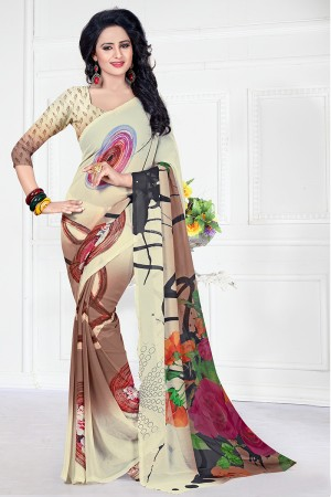 Georgette Multi Colour Abstract Print Saree