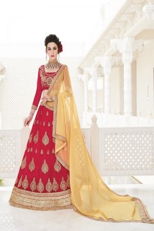 Red Zoya Silk Heavy Embroiderd Zari Butta Work with Lace Border Lehenga Choli