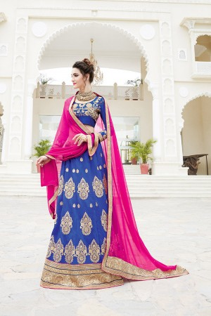 SlatBlue Zoya Silk Heavy Embroiderd Zari Butta Work with Lace Border Lehenga Choli