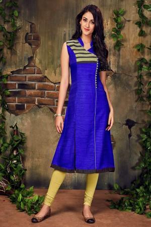 Royal blue Silk Lace Work Kurti