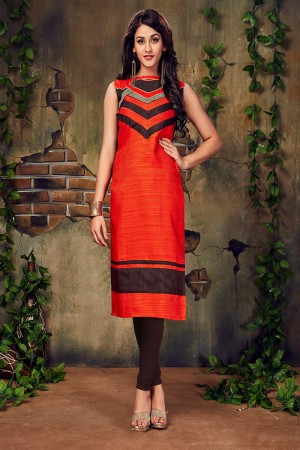 Dark Orange & Brown Silk Lace Work Kurti