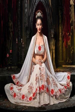 White Designer heavy embroidery work Lehenga choli with embroidery work lace border dupatta