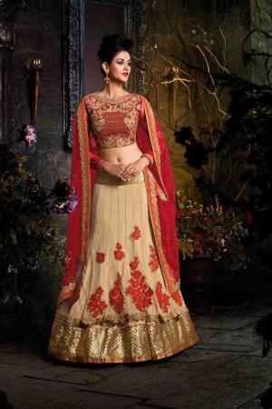 Cream Designer heavy embroidery work Lehenga choli with embroidery work lace border dupatta