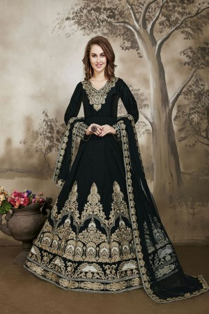 Black Designer heavy embroidery Kali Work with embroidery work lace border dupatta Salwar Kameez