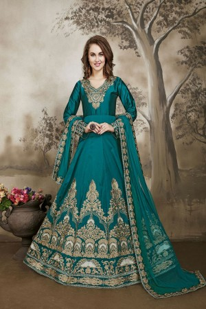Sea Green Designer heavy embroidery Kali Work with embroidery work lace border dupatta Salwar Kameez