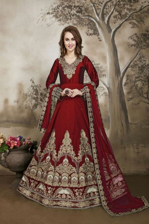 Maroon Designer heavy embroidery Kali Work with embroidery work lace border dupatta Salwar Kameez
