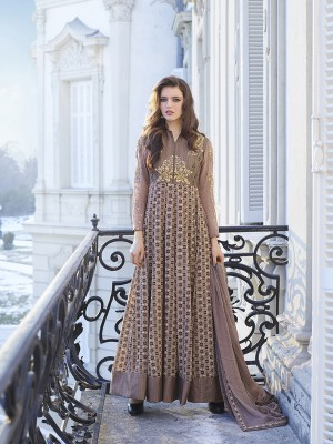 Rosy Brown Bhagalpuri Silk with Georgette Print Embroiderd Zari Work on Sleeve and Nack with Printed Top Salwar Kameez