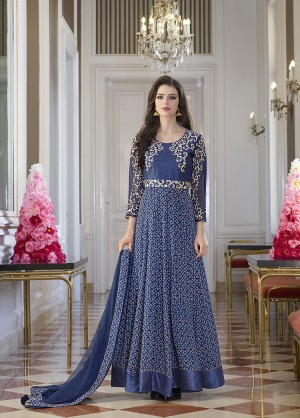Blue Bhagalpuri Silk with Georgette Print Embroiderd Zari Work on Sleeve and Nack with Printed Top Salwar Kameez