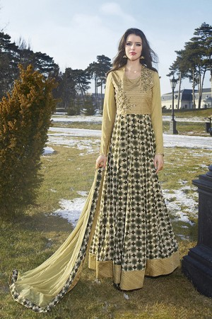 Golden Bhagalpuri Silk with Georgette Print Embroiderd Zari Work on Sleeve and Nack with Printed Top Salwar Kameez