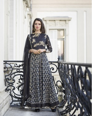 Black Bhagalpuri Silk with Georgette Print Embroiderd Zari Work on Sleeve and Nack with Printed Top Salwar Kameez
