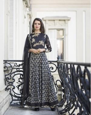 Black Bhagalpuri Silk with Georgette Print Embroiderd Zari Work on Sleeve and Nack with Printed Top Salwar Kameez