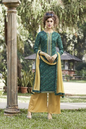 Rama Green Pure Cotton Dress material