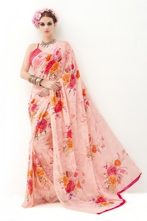 Peach Pink Pure Marble Brasso Print Work  Saree