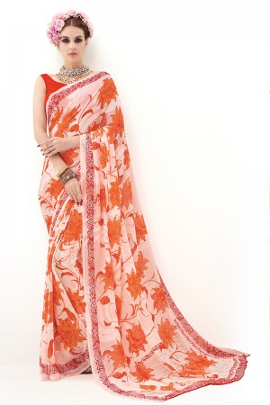 Orange Pure Marble Brasso Print Work  Saree