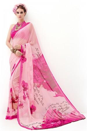 Rani Pink Pure Marble Brasso Print Work  Saree