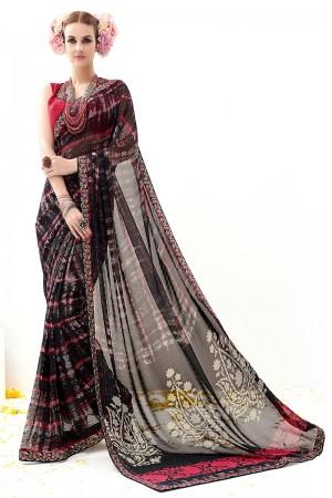 Balck Rani Gold Georgette Lining Print Work  Saree