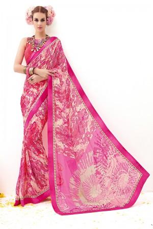 Rani Pink Marble Rimzim Print Work  Saree