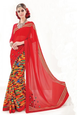 Red&Rainbow Creap Georgette Embroidery and Print Work Saree