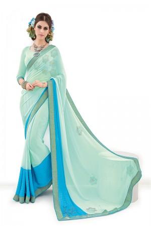Firozi&Skyblue Viscose Silk Jequard Embroidery and Print Work Saree