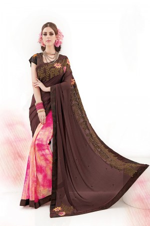 Coffee&Rani Silk Georgette Embroidery and Print Work Saree