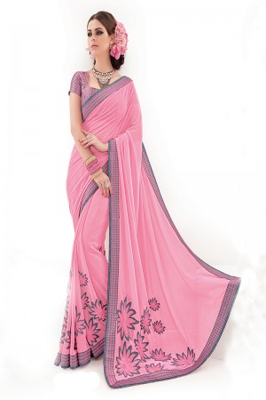 Light Pink Silk Embroidery and Print Work Saree