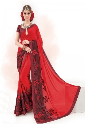 Wine&Red Pure Chiffon Embroidery and Print Work Saree
