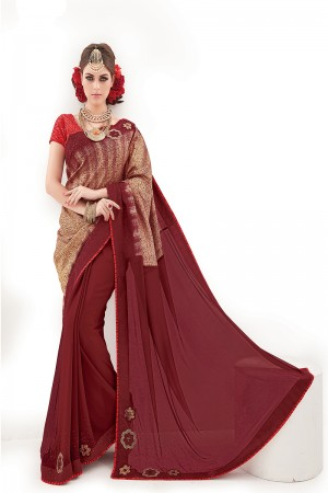 Maroon&Gold Silk&Georgette Embroidery and Print Work Saree