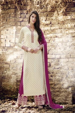 Off white Georgette Straight Cut Suit With Dotted Embroidery Work in Neck & Arms Salwar Kameez