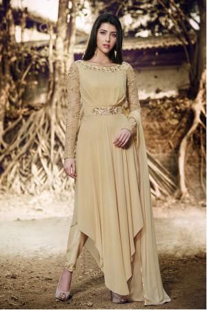 Pleated Beige Georgette Sleeves in Net With Self Embroidery Thread Work Salwar Kameez