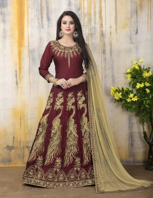 Maroon Banglori Silk Heavy Embroidery Zari Work and Dupatta with Lace Border Anarkali Suit