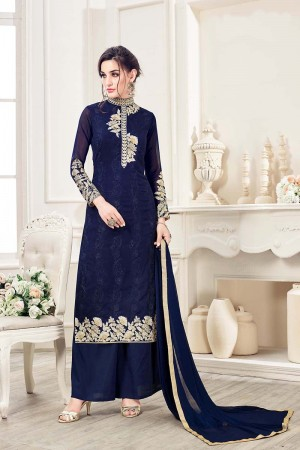 Blue Georgette Straight Cut Suit With Thread Embroidery Work in Neck & Arms Salwar Kameez