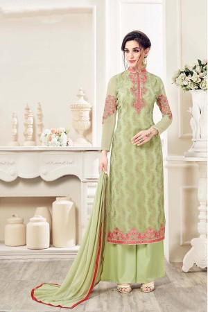 Green Georgette Straight Cut Suit With Thread Embroidery Work in Neck & Arms Salwar Kameez