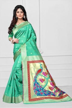 Mint Green Art silk Jacquard Saree
