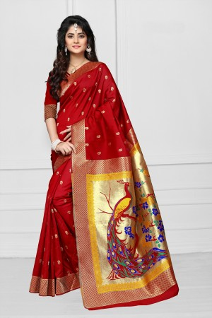 Red Art silk Jacquard Saree