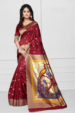 Maroon Art silk Jacquard Saree