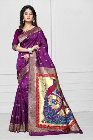 Wine Art silk Jacquard Saree