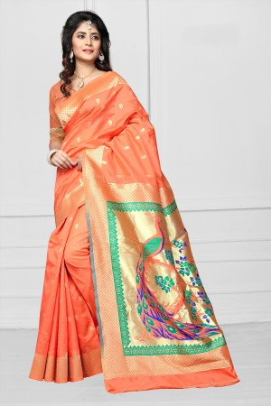 Orange Art silk Jacquard Saree