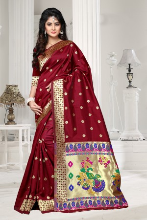 Maroon Art silk Jacquard Saree